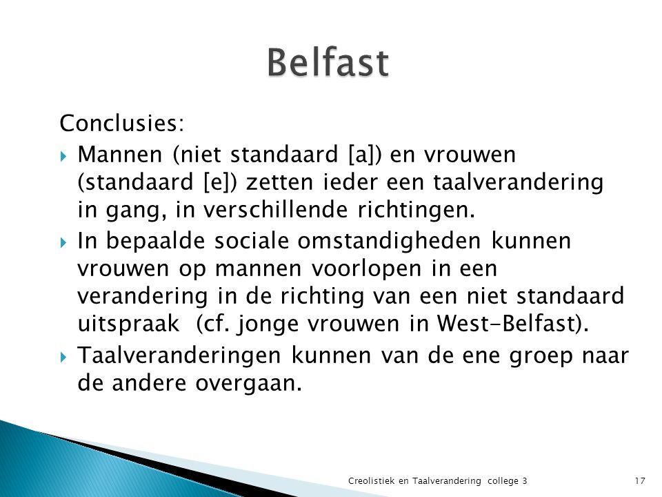 Belfast Conclusies: Mannen (niet standaard [a]) en vrouwen (standaard [e]) zetten ieder een taalverandering in gang, in verschillende richtingen.